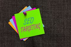 Word writing text Seo Targeting. Business concept for Specific Keywords for Location Landing Page Top Domain Paper notes Important. Reminders Communicate ideas royalty free stock photography