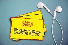 Word writing text Seo Targeting. Business concept for Specific Keywords for Location Landing Page Top Domain.  royalty free stock images