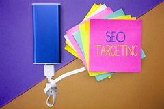 Word writing text Seo Targeting. Business concept for Specific Keywords for Location Landing Page Top Domain.  stock image