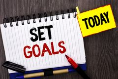Word writing text Set Goals. Business concept for Target Planning Vision Dreams Goal Idea Aim Target Motivation written on Noteboo. Word writing text Set Goals Stock Photo