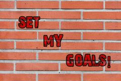 Word writing text Setting My Goals. Business concept for create something that want accomplish and establishing Brick. Word writing text Setting My Goals royalty free stock images