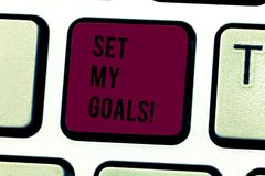 Word writing text Setting My Goals. Business concept for create something that want accomplish and establishing Keyboard. Word writing text Setting My Goals royalty free stock photo