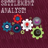 Word writing text Settlement Analyst. Business concept for Negotiate settlement using the most effective means Set of. Word writing text Settlement Analyst royalty free stock images
