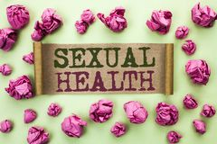 Word writing text Sexual Health. Business concept for STD prevention Use Protection Healthy Habits Sex Care written on Cardboard P. Word writing text Sexual stock images