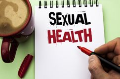 Word writing text Sexual Health. Business concept for STD prevention Use Protection Healthy Habits Sex Care written by Man on Note. Word writing text Sexual stock image