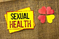 Word writing text Sexual Health. Business concept for STD prevention Use Protection Healthy Habits Sex Care written on Sticky Note. Word writing text Sexual royalty free stock photo