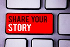 Word writing text Share Your Story. Business concept for Experience Storytelling Nostalgia Thoughts Memory Personal White Text two. Words red tab key button Royalty Free Stock Photography