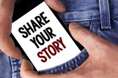 Word writing text Share Your Story. Business concept for Tell personal experiences talk about yourself Storytelling written on Mob. Word writing text Share Your Royalty Free Stock Photo