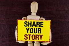 Word writing text Share Your Story. Business concept for Tell personal experiences talk about yourself Storytelling written on Sti. Word writing text Share Your royalty free stock image