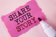 Word writing text Share Your Story. Business concept for Tell personal experiences talk about yourself Storytelling written on Tea. Word writing text Share Your stock photos