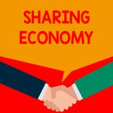 Word writing text Sharing Economy. Business concept for economic model based on providing access to goods Two persons. Word writing text Sharing Economy royalty free illustration