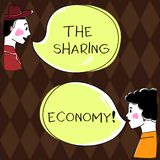 Word writing text The Sharing Economy. Business concept for systems assets or services shared between individuals Hand. Drawn Man and Wo analysis Talking photo stock illustration