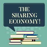 Word writing text The Sharing Economy. Business concept for systems assets or services shared between individuals Uneven. Pile of Hardbound Books and Blank royalty free illustration