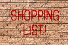 Word writing text Shopping List. Business concept for Products Groceries you need to buy Supermarket Checklist Brick royalty free stock images