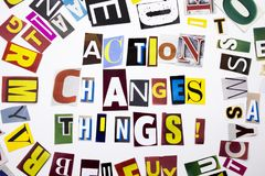 A word writing text showing concept of Action Changes Things made of different magazine newspaper letter for Business case on the. White background with space Stock Image