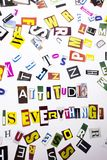 A word writing text showing concept of Attitude Is Everything made of different magazine newspaper letter for Business case on the Royalty Free Stock Photo