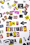 A word writing text showing concept of Best Better Good made of different magazine newspaper letter for Business case on the white royalty free stock image