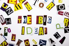 A word writing text showing concept of The Big Idea question made of different magazine newspaper letter for Business case on the Royalty Free Stock Images