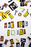 A word writing text showing concept of The Big Idea question made of different magazine newspaper letter for Business case on the Royalty Free Stock Photos