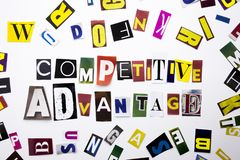 A word writing text showing concept of Competitive Advantage made of different magazine newspaper letter for Business case on the Stock Images