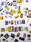 A word writing text showing concept of Content Marketing made of different magazine newspaper letter for Business case on the whit Royalty Free Stock Photos