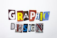 A word writing text showing concept of Graphic Design made of different magazine newspaper letter for Business case on the white b Royalty Free Stock Photography