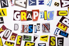 A word writing text showing concept of Graphic Design made of different magazine newspaper letter for Business case on the white b Stock Photos
