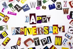 A word writing text showing concept of Happy Anniversary made of different magazine newspaper letter for Business case on the whit. E background with space Stock Photo