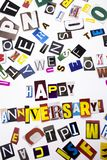 A word writing text showing concept of Happy Anniversary made of different magazine newspaper letter for Business case on the whit. E background with space Royalty Free Stock Photography