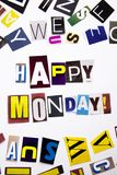 A word writing text showing concept of Happy Monday made of different magazine newspaper letter for Business case on the white bac. Kground with space royalty free stock photo