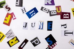A word writing text showing concept of JUNE made of different magazine newspaper letter for Business case on the white background Stock Photography