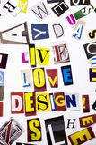 A word writing text showing concept of Live Love Design made of different magazine newspaper letter for Business case on the white Royalty Free Stock Photos