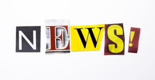 A word writing text showing concept of News made of different magazine newspaper letter for Business case on the white background Stock Photos