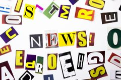 A word writing text showing concept of News made of different magazine newspaper letter for Business case on the white background Stock Images