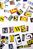 A word writing text showing concept of News made of different magazine newspaper letter for Business case on the white background Royalty Free Stock Photo