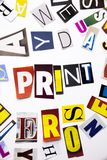 A word writing text showing concept of Print made of different magazine newspaper letter for Business case on the white background Stock Photos
