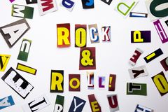 A word writing text showing concept of Rock And Roll made of different magazine newspaper letter for Business case on the white ba stock images