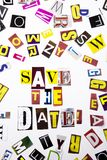 A word writing text showing concept of Save The Date made of different magazine newspaper letter for Business case on the white ba. Ckground with space Stock Images