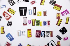 A word writing text showing concept of Think Outside The Box made of different magazine newspaper letter for Business case on the royalty free stock photography