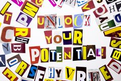 A word writing text showing concept of Unlock Your Potential made of different magazine newspaper letter for Business case on the. White background with space Royalty Free Stock Photos