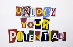 A word writing text showing concept of Unlock Your Potential made of different magazine newspaper letter for Business case on the. White background with space Royalty Free Stock Image