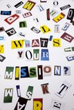A word writing text showing concept of WHAT`S YOUR MISSION made of different magazine newspaper letter for Business case on the w Stock Photos