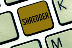 Word writing text Shredder. Business concept for machine or other device for shredding something like paper.  stock image