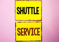Word writing text Shuttle Service. Business concept for Transportation Offer Vacational Travel Tourism Vehicle written on Yellow S. Word writing text Shuttle Royalty Free Stock Photography