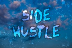 Word writing text Side Hustle. Business concept for way make some extra cash that allows you flexibility to pursue Cloudy bright b. Lue sky sunset landscape royalty free illustration