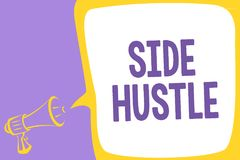 Word writing text Side Hustle. Business concept for way make some extra cash that allows you flexibility to pursue Megaphone louds. Peaker speech bubble stock illustration