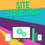 Word writing text Site Statistics. Business concept for measurement of behavior of visitors to certain website Business. Word writing text Site Statistics royalty free illustration