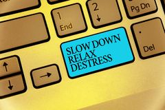 Word writing text Slow Down Relax Destress. Business concept for calming bring happiness and put you in good mood. Keyboard blue key Intention create computer royalty free stock photography