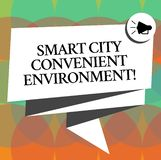 Word writing text Smart City Convenient Environment. Business concept for Connected technological modern cities Folded. 3D Ribbon Sash Megaphone Speech Bubble royalty free illustration