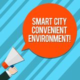 Word writing text Smart City Convenient Environment. Business concept for Connected technological modern cities Hu. Analysis Hand Holding Megaphone Blank Round royalty free illustration